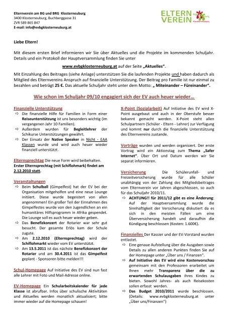 Elternbrief Bgbrg Klosterneuburg International School
