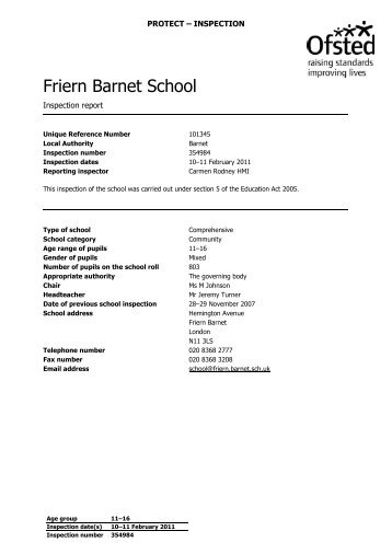 Ofsted Report February 2011 - Friern Barnet School