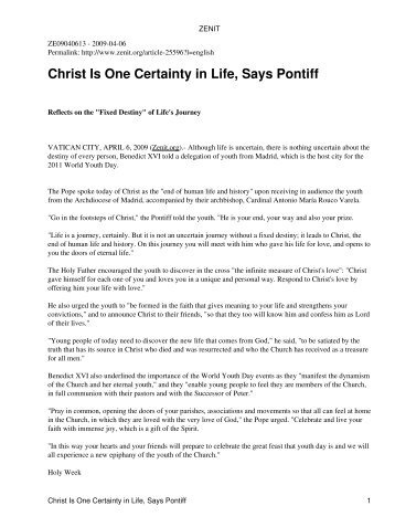 Christ Is One Certainty in Life, Says Pontiff