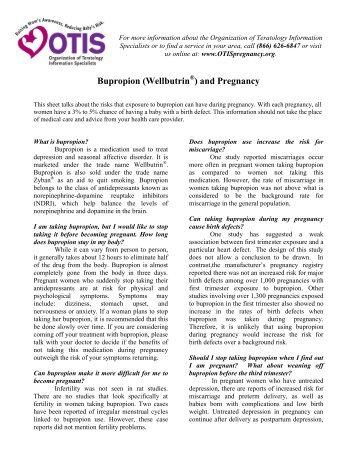 Bupropion - Organization of Teratology Information Specialists