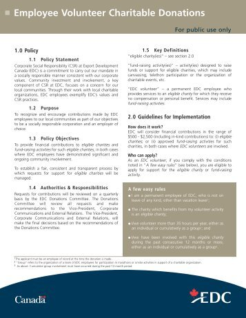 Charitable Donations Policy - EDC