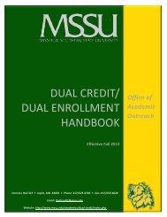 Dual Credit/ dual enrollment Handbook - Missouri Southern State ...