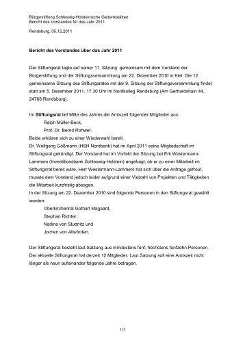 Jahresbericht 2011 - Gedenkstätten Schleswig Holstein