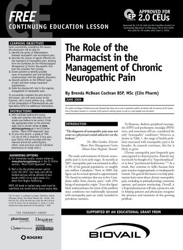 The Role of the Pharmacist in the Management of Chronic ...