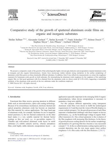 Comparative study of the growth of sputtered aluminum oxide films ...