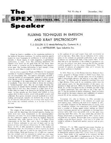 Fluxing Techniques In Emission And X-Ray ... - SPEX Speaker