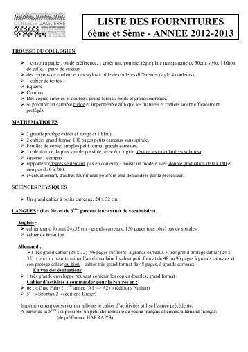 LISTE DES FOURNITURES 6ème et 5ème - ANNEE 2012-2013