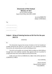 Hiring of Catering Services at Siri Fort for the year 2012-13