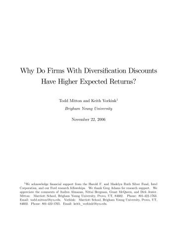 Why Do Firms With Diversification Discounts Have Higher Expected ...
