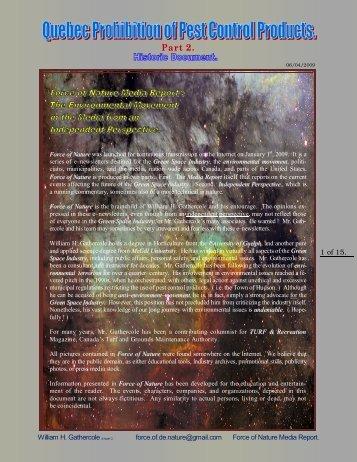 2009 04 06 — NAFTA — Notice of Intent — Part 1 - Pesticide Truths