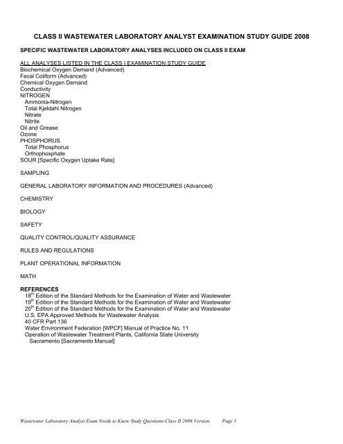 class ii wastewater laboratory analyst examination study