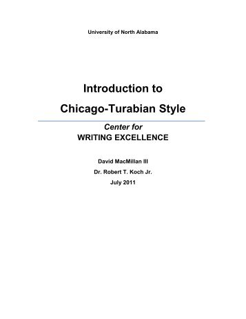 Introduction to Chicago-Turabian Style - University of North Alabama