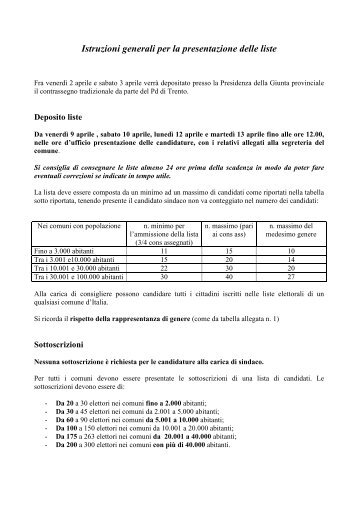 Istruzioni elezioni comunali 2010 - Partito Democratico del Trentino