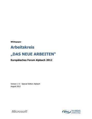 """Arbeitskreis """"DAS NEUE ARBEITEN"""" - IMC Fachhochschule Krems"""