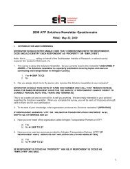2009 ATP Solution Newsletter QUESTIONNAIRE - Mobility Lab