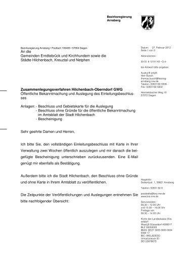 Zusammenlegungsverfahren Hilchenbach-Oberndorf ... - Kreuztal