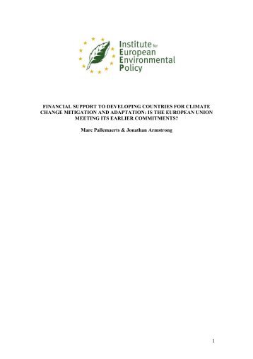 Financial Support to Developing Countries for Climate Change ...