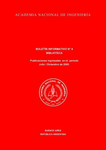 boletín informativo n° 9 biblioteca - Academia Nacional de Ingeniería