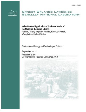 PDF - Simulation Research Group - Lawrence Berkeley National ...