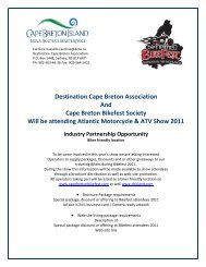 Destination Cape Breton Association And Cape Breton Bikefest ...