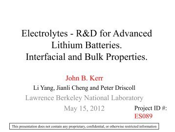 Electrolytes - R&D for Advanced Lithium Batteries. Interfacial ...