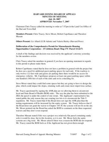 Harvard Zoning Board of Appeals Meeting ... - Town of Harvard