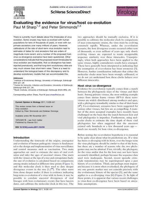 Evaluating the evidence for virus / host co-evolution. Curr. Opin ...