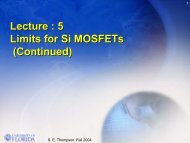 Lecture : 5 Limits for Si MOSFETs (Continued)