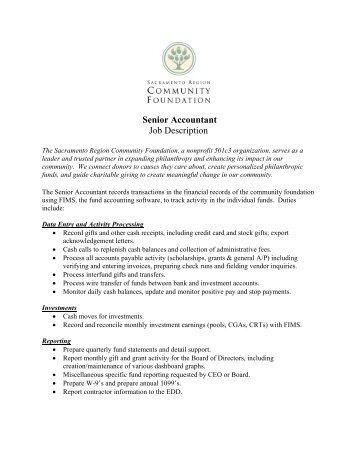 Senior Accountant Job Description   Sacramento Region .