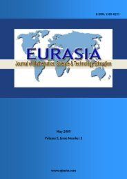 May 2009 Volume 5, Issue Number 2 - Eurasia Journal of ...