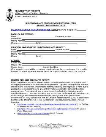 Ethics Undergrad Protocol Form Course Template - University of ...