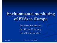 Environmental monitoring of PTS