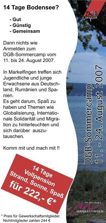 Einlegeflyer Sommercamp - IG Metall Karlsruhe