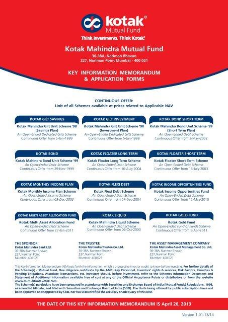 Kotak Mahindra Mutual Fund - Rrfinance.com