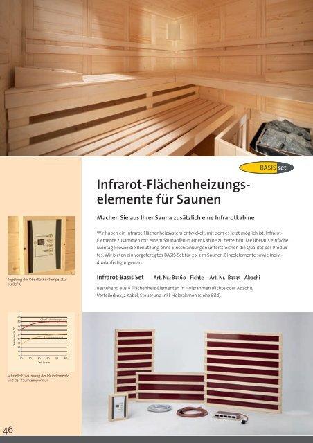 Infrarot-Flächenheizungs- elemente für Saunen