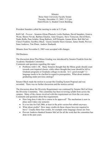 Draft Minutes - Academics - Boise State University