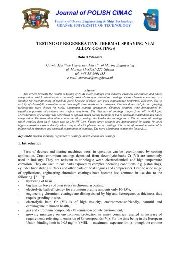 TESTING OF REGENERATIVE THERMAL SPRAYING Ni-Al ALLOY ...