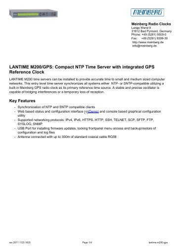 LANTIME M200/GPS: Compact NTP Time Server with ... - inl system ab