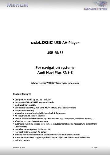 USB-AV-Player USB-RNSE For navigation ... - vag navisystems