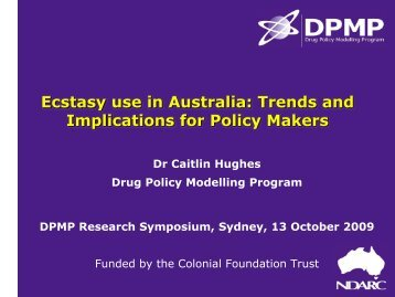 Ecstasy use in Australia: Trends and implications for policy makers