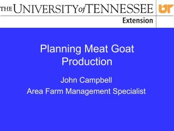 Planning Meat Goat Production - February 2007 ... - UT Extension