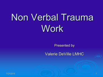 Non Verbal Trauma Work