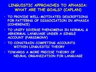RECEPTIVE AGRAMMATISM STUDIES - Center for Research in ...