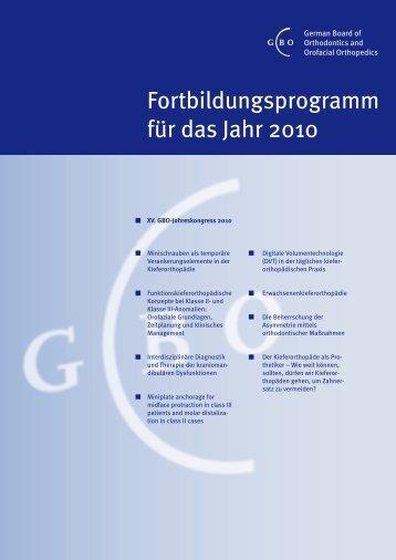 Fortbildungsprogramm für das Jahr 2010 - German Board of ...