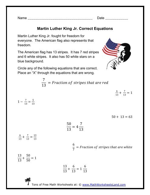 Martin Luther King Jr. Correct Equations - Math Worksheets Land