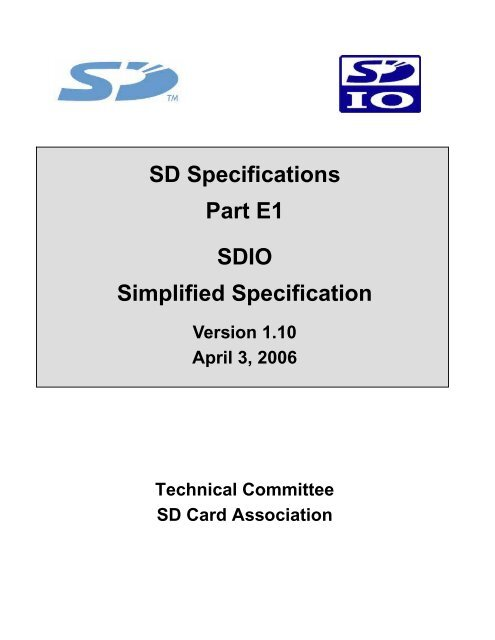 SDIO Simplified Specification - SD Association