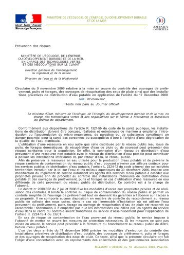 Circulaire du 9 novembre 2009 - Bulletin Officiel