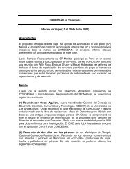 CONDESAN en Venezuela Informe de Viaje (15 al 20 de Julio 2002 ...