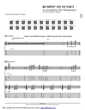 """Bumpin' On Sunset"" (PDF) - Guitar Alliance"