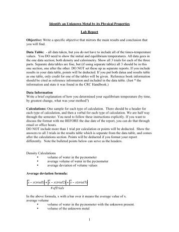 1 Identify an Unknown Metal by its Physical Properties Lab Report ...